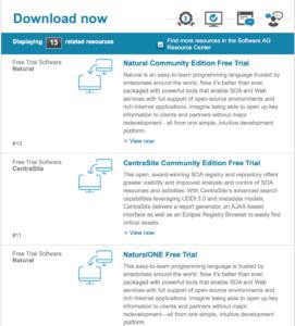 Imagem da área de download da página da Software AG