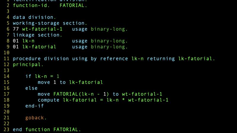 Como criar uma função recursiva em Cobol?